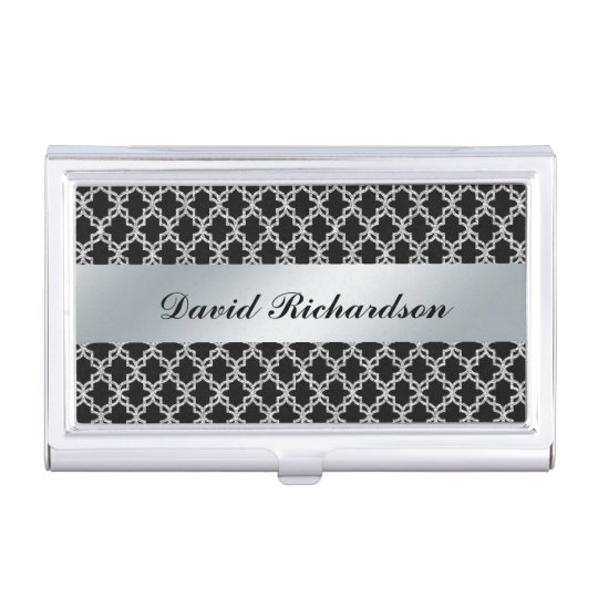 Man's Elegant Black Silver Business Card Holder