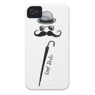 "Man's Hat Mustache Umbrella ""cool dude"" Case-Mate iPhone 4 Case"