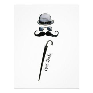 "Man's Hat Mustache Umbrella ""cool dude"" Letterhead"