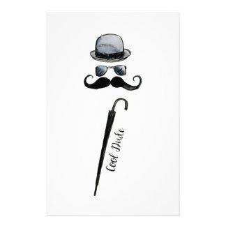 "Man's Hat Mustache Umbrella ""cool dude"" Stationery"