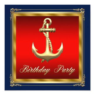 Mans Nautical Birthday Party Card