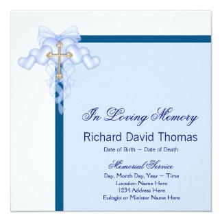 Mans Navy Blue Cross In Loving Memory Memorial Card