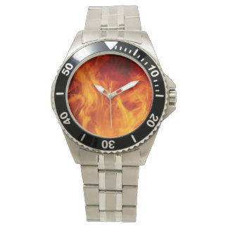 MANS STAINLESS STEEL WATCH WITH FIRE