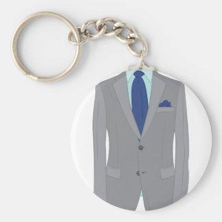 Mans Suit Basic Round Button Keychain