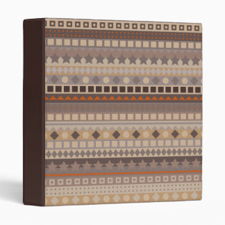 Man's Tribal Aztec Stripes Brown and Beige Pattern 3 Ring Binder