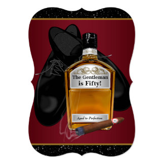 """Mans Whiskey And Cigar Birthday Party 5"""" X 7"""" Invitation Card"""