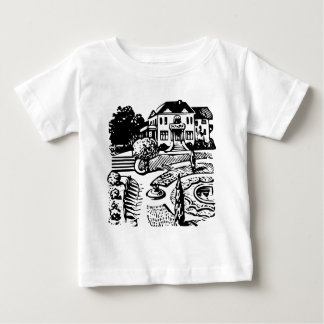 Mansion in park retro baby T-Shirt