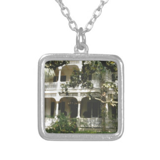 mansion in texas port arkansas silver plated necklace