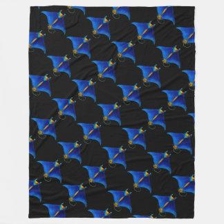 manta ray art fleece blanket
