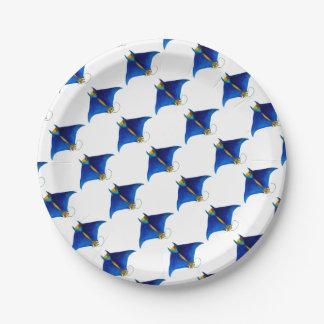 manta ray art paper plate