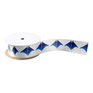 manta ray art satin ribbon