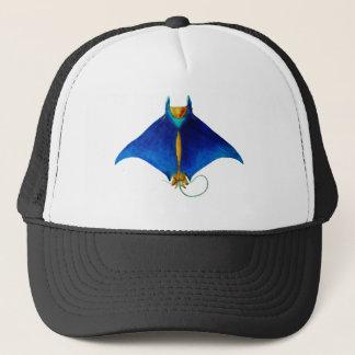 manta ray art trucker hat