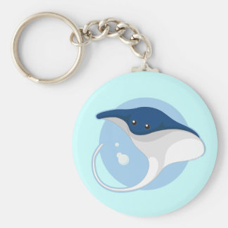 Manta Ray Basic Round Button Keychain