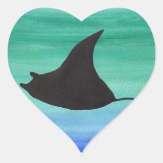Manta Ray Heart Sticker
