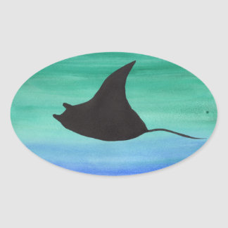 Manta Ray Oval Sticker