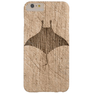 Manta Ray Rustic Scratched Weathered Old Wood Barely There iPhone 6 Plus Case