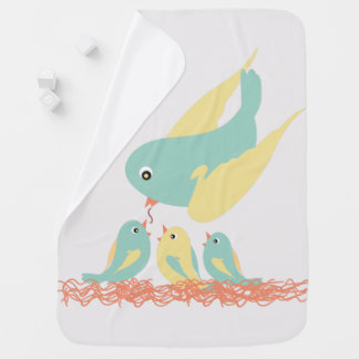 Mantita for drinks Small birds Baby Blanket