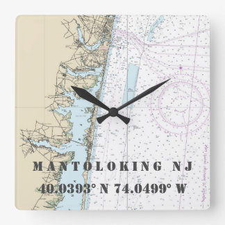 Mantoloking NJ Latitude Longitude Nautical Chart Square Wall Clock