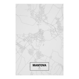 Mantova, Italy (black on white) Poster