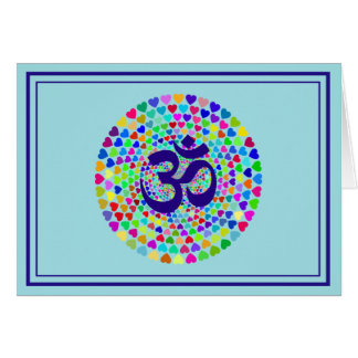 Mantra OM Hearts Greeting Card