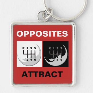 MANUAL Transmission - OPPOSITES ATTRACT Silver-Colored Square Keychain