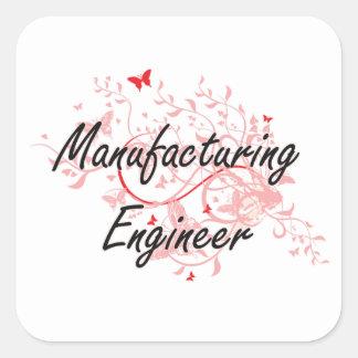 Manufacturing Engineer Artistic Job Design with Bu Square Sticker