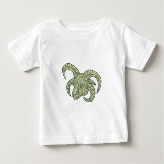 Manx Loaghtan Sheep Head Mono Line Baby T-Shirt