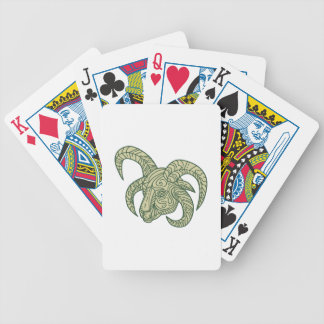 Manx Loaghtan Sheep Head Mono Line Bicycle Playing Cards