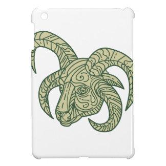 Manx Loaghtan Sheep Head Mono Line iPad Mini Cases