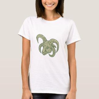 Manx Loaghtan Sheep Head Mono Line T-Shirt