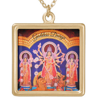 Many Armed Goddess Durga Gold Plated Necklace