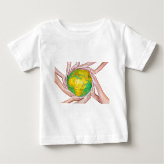 Many arms of children with hands holding globe baby T-Shirt