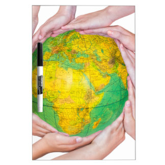 Many arms of children with hands holding globe dry erase whiteboards