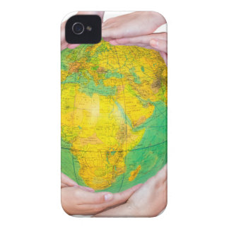 Many arms of children with hands holding globe iPhone 4 cases