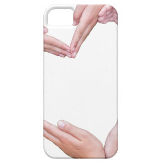 Many arms of girls construct heart on white iPhone 5 covers