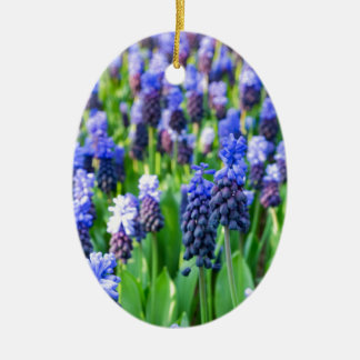 Many blue grape hyacinths ceramic oval ornament