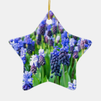 Many blue grape hyacinths ceramic star ornament