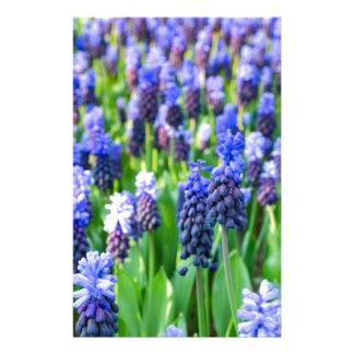 Many blue grape hyacinths stationery design