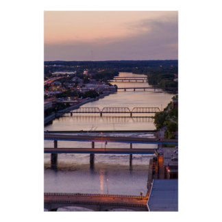 Many Bridges Span The Grand River, Sunset View Poster
