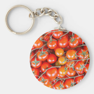 Many bunches of red vine tomatoes basic round button keychain