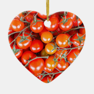 Many bunches of red vine tomatoes ceramic heart ornament