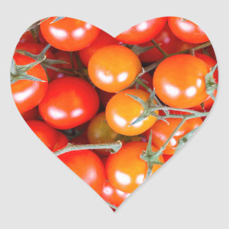 Many bunches of red vine tomatoes heart sticker
