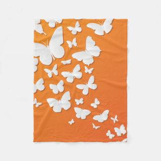 Many Butterflies On Orange Fleece Blanket