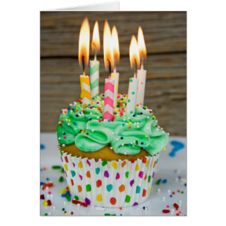 many candles on birthday cupcake card