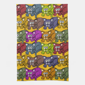 Many cartoon cats and colors on a towel. kitchen towel