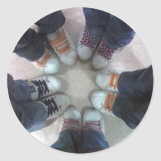 many colors shoes round sticker