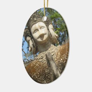 Many Face Wai ... Nong Khai, Isaan, Thailand Ceramic Oval Ornament