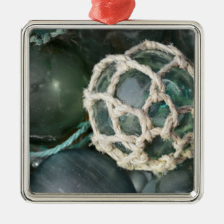 Many glass fishing floats, Alaska Metal Ornament