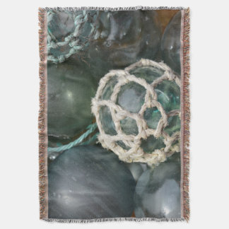 Many glass fishing floats, Alaska Throw Blanket