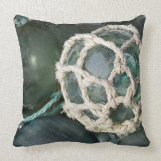 Many glass fishing floats, Alaska Throw Pillow
